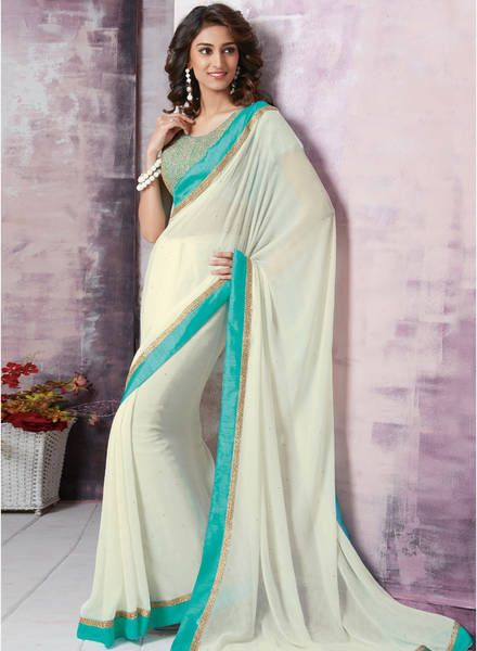 Buy Vishal White Embroidered Saree For Women Online India Best