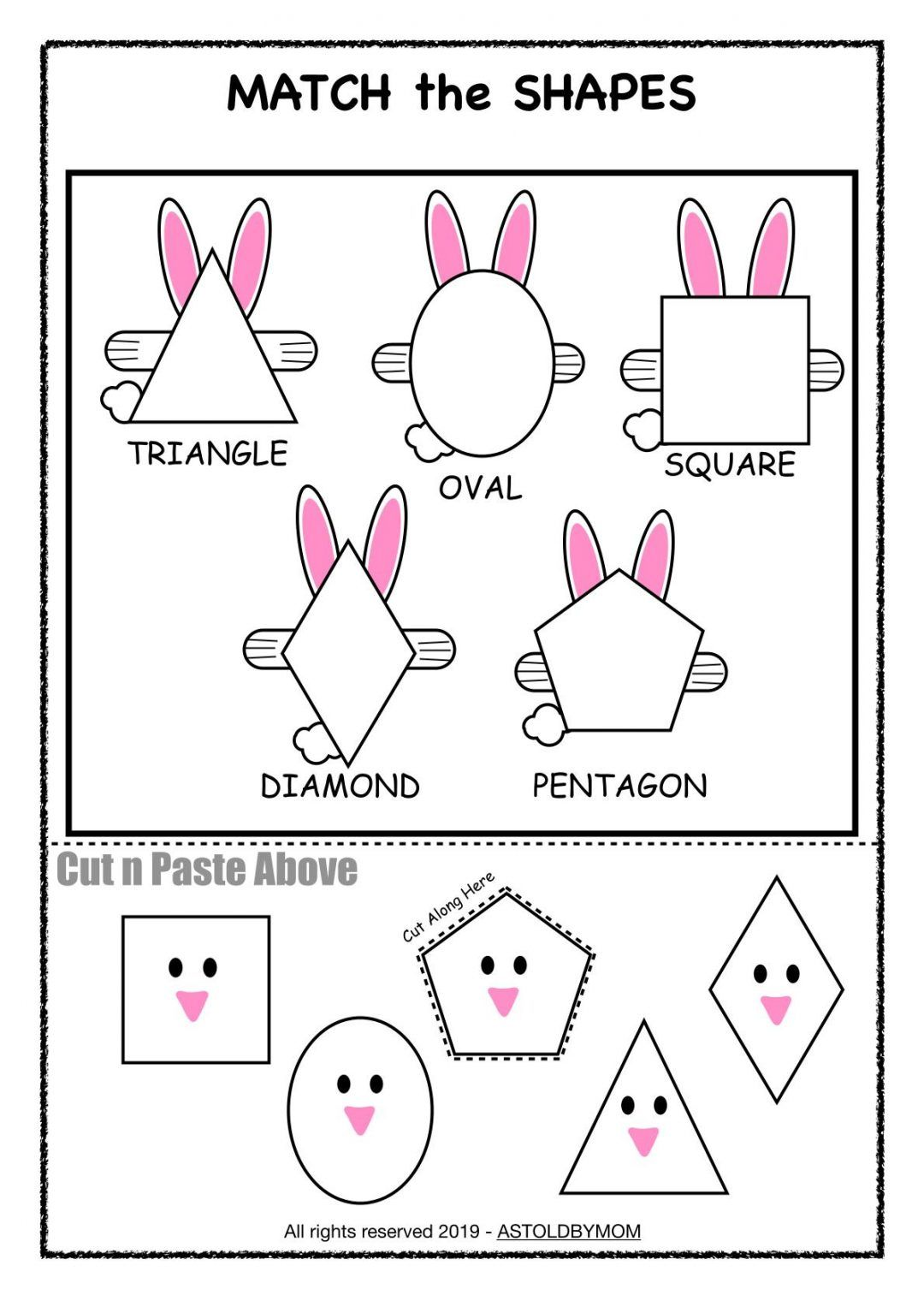 Bunny Theme Shapes Activities Amp Shape Posters