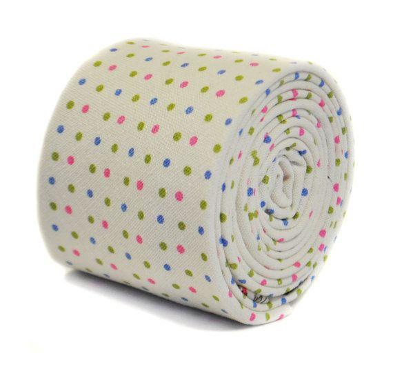 Polka Dot Wedding Necktie Frederick Thomas Designer Mens Tie Rose Pink