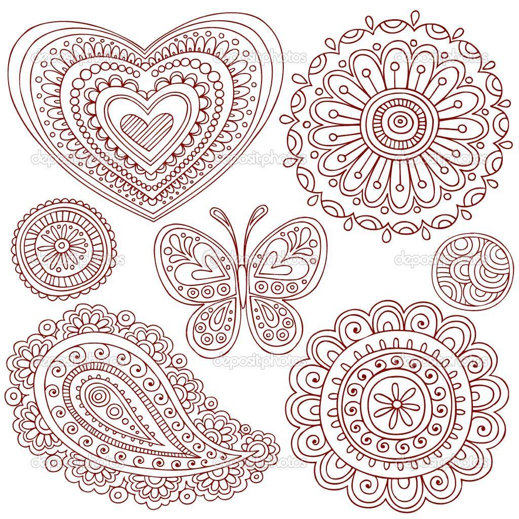 Simple doodle ideas hand drawn henna mehndi paisley for Simple doodle designs with names