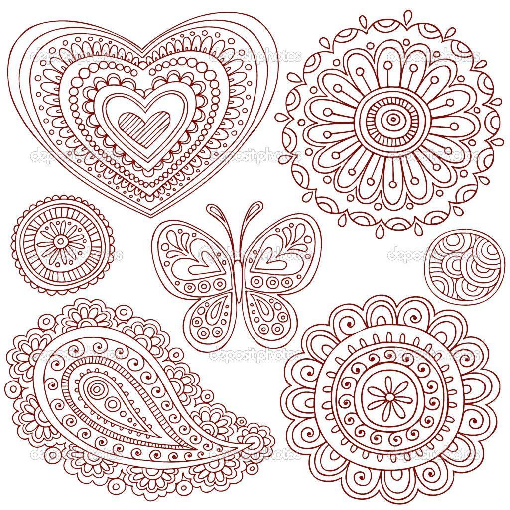 Mehndi Mandala Designs : Simple doodle ideas hand drawn henna mehndi paisley