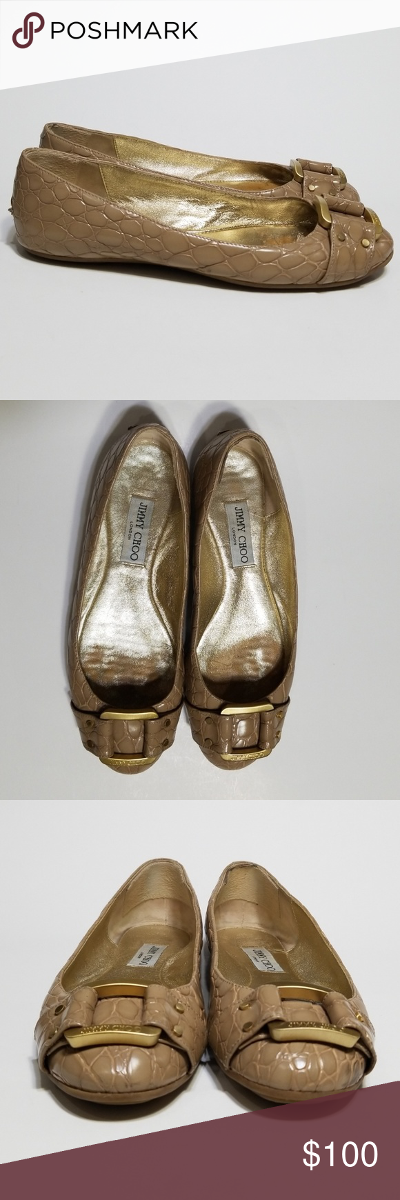 fe38ceba7810 Jimmy Choo Nude Morse Croc Rmbossed Flats 39 This is a pair of size 39 nude
