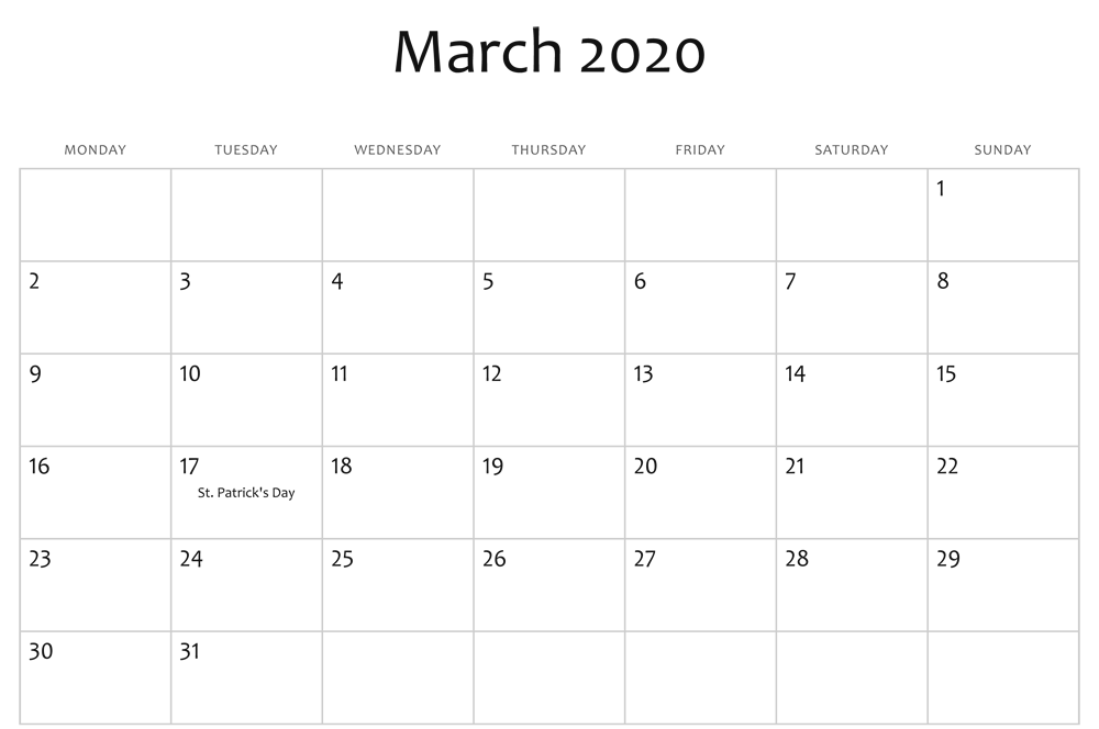Free Printable March Holidays 2020 Calendar In Us Uk Canada