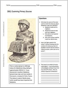 Ancient Babylon Free Printable Primary Source Worksheet 7th grade world history worksheets