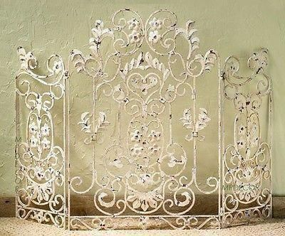 Photo of French Country Shabby Floral Chic Scroll Antique Finish Cottage Fireplace Screen  | eBay