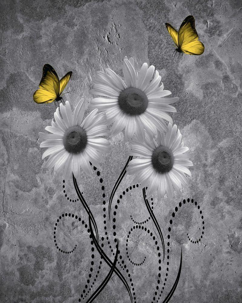 Black white yellow butterflies daisy flowers wall art home decor