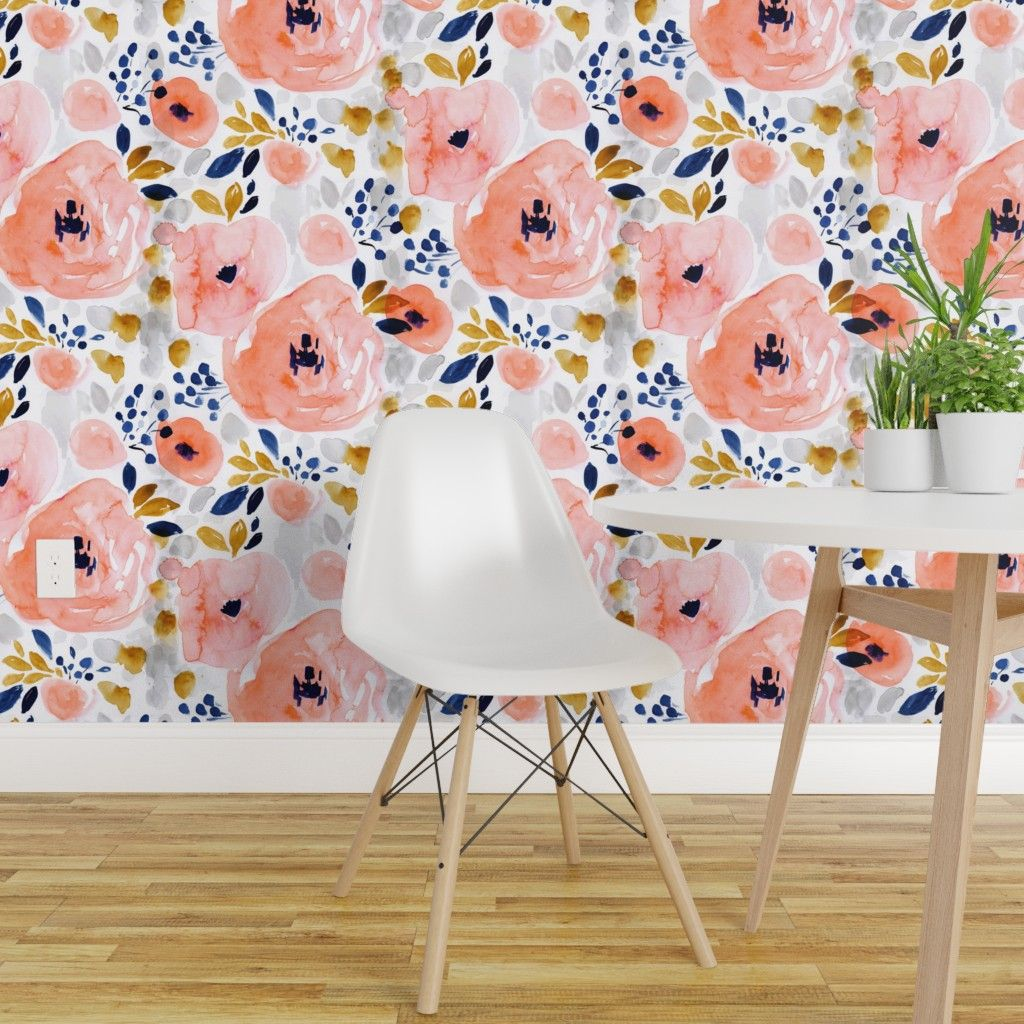 Free 2 Day Shipping Buy Peel And Stick Removable Wallpaper Watercolor Floral Flowers Pink Blue Blush In 2020 Girls Room Wallpaper Room Wallpaper Wallpaper Accent Wall