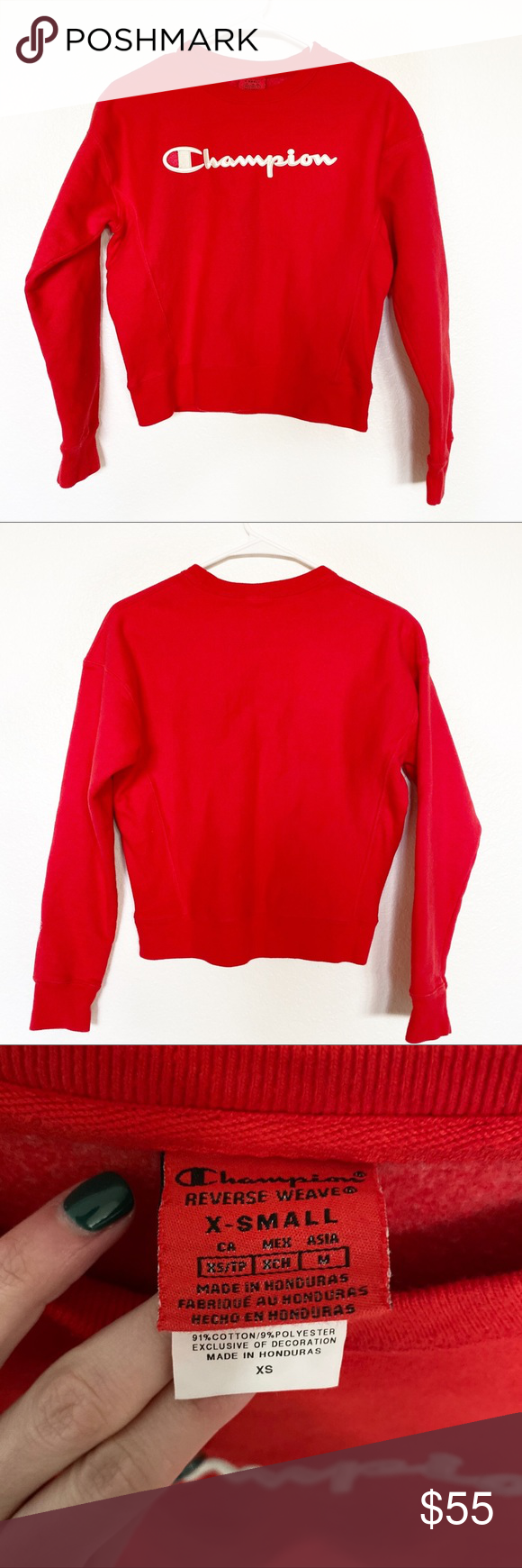Champion Reverse Weave Script Sweatshirt Red Champion Reverse Weave Sweatshirts Sweatshirt Tops [ 1740 x 580 Pixel ]