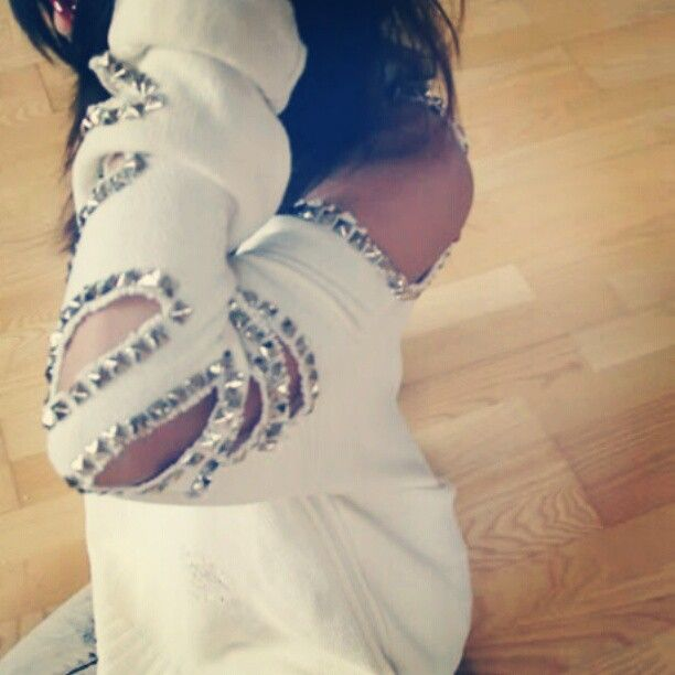 Studded ripped sweater