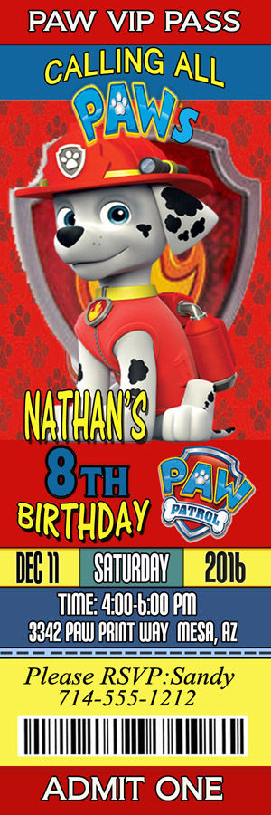 Personalized Paw Patrol Marshall Birthday Ticket Invitations