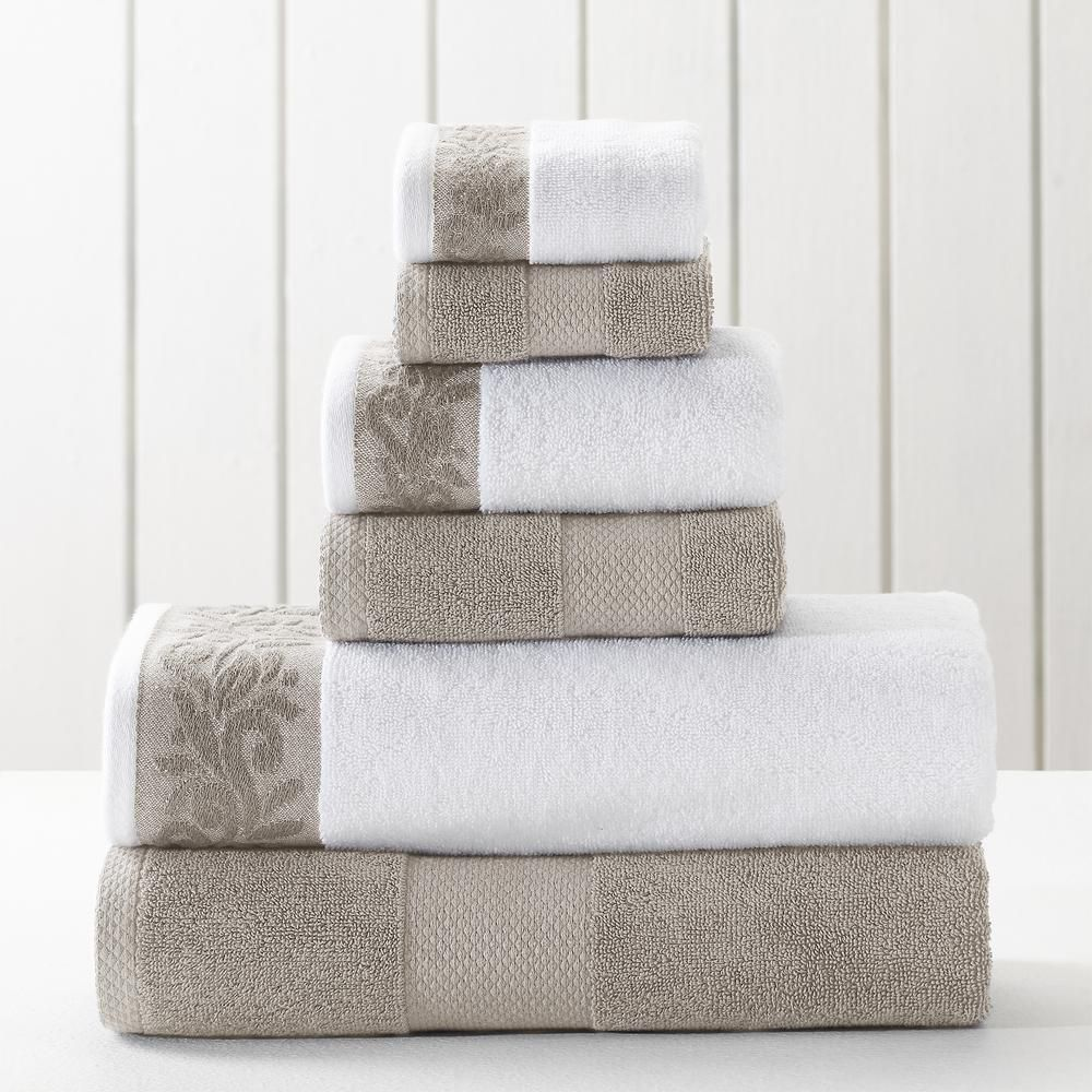 Modern Threads 6 Piece Flax Towel Set With Filgree Jacquard Border