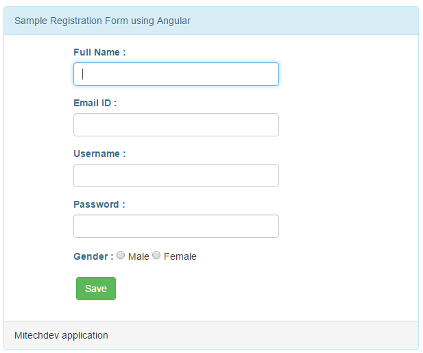 Registration page using angular js in asp net mvc5 | Mitechdev com