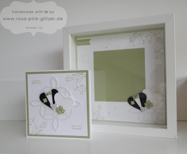 karte und rahmen zur hochzeit in gr n wei mit stampin 39 up. Black Bedroom Furniture Sets. Home Design Ideas