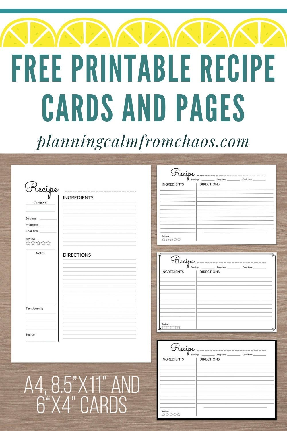 Free Printable Recipe Cards And Pages Recipe Cards Printable Free Food Printables Printable Recipe Cards