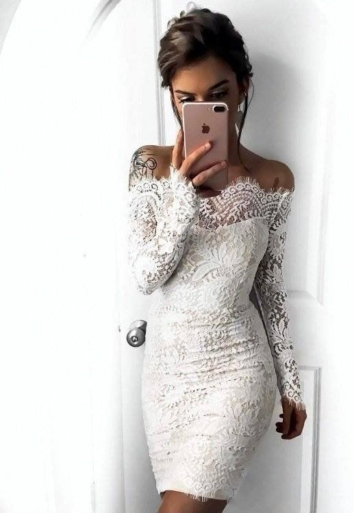 Sukienka Odkryte Ramiona Koronkowa Bialo Bezowa Simple Cocktail Dress Cheap Cocktail Dresses White Dress Party