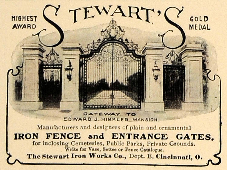 1905 Ad Stewart Iron Works Company Fence Entrance Gate Original Cl7 Ebay Entrance Gates Entrance Iron Fence