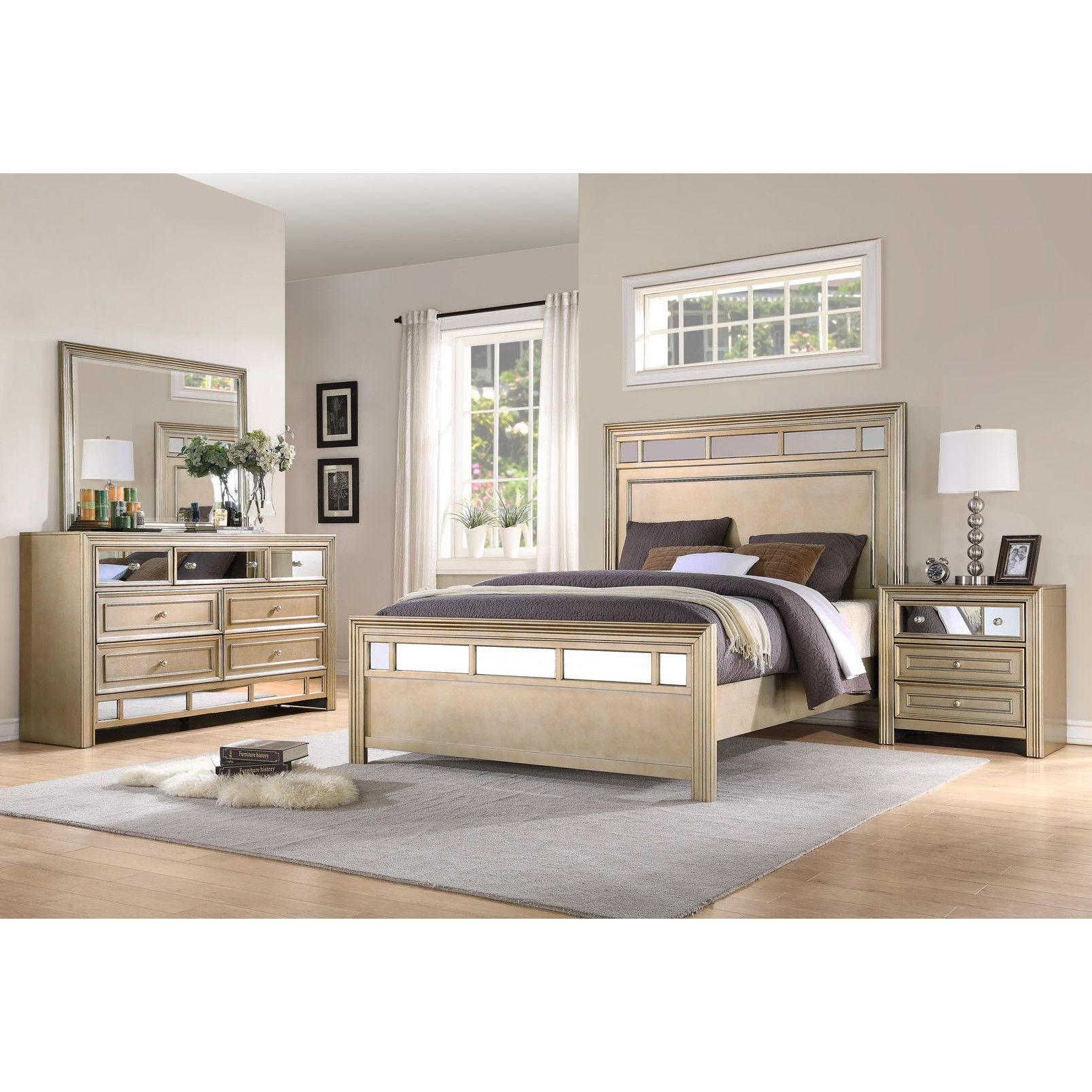 nice wall color  taupey with white trim  bedroom sets