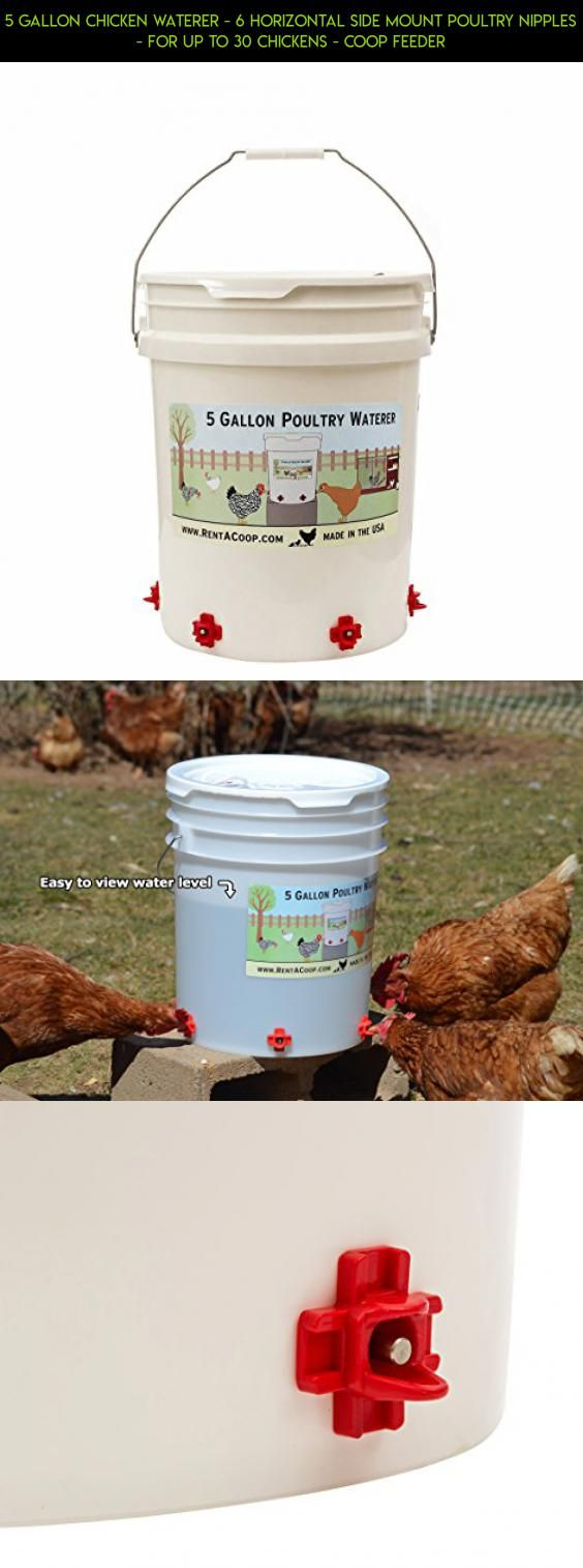 5 Gallon Chicken Waterer - 6 Horizontal Side Mount Poultry Nipples - For Up To 30 Chickens - Coop Feeder #camera #heating #drone #plans #racing #technology #tech #fpv #gadgets #parts #kit #jar #shopping #products