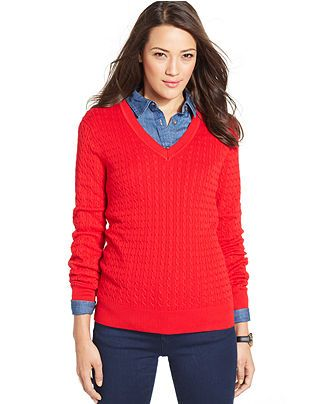 1333e442dee Tommy Hilfiger Cable-Knit V-Neck Sweater - just purchase 1 in this ...