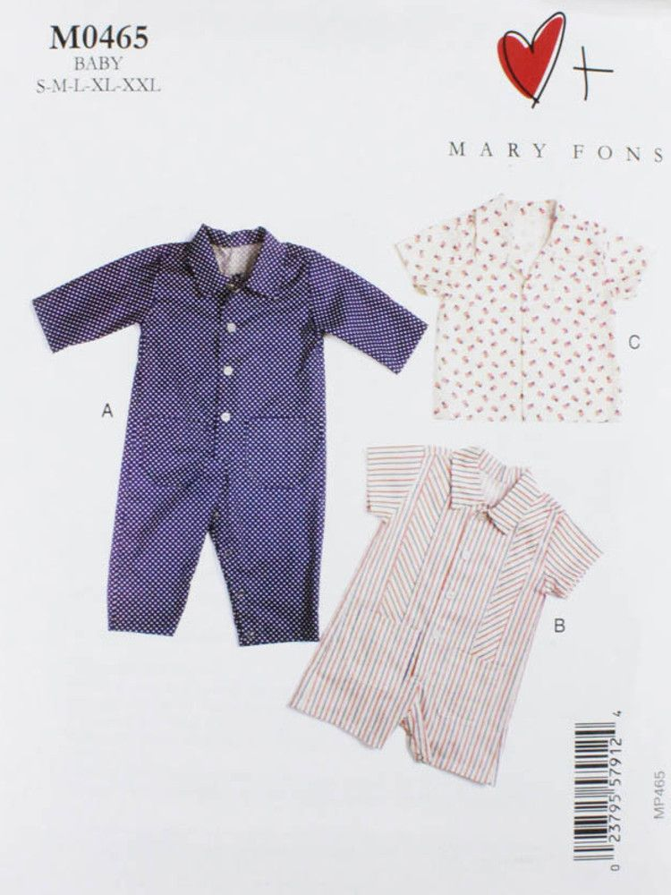 Mary Fons, Sewing Pattern, Baby Overalls and Shirt | Halloween ...