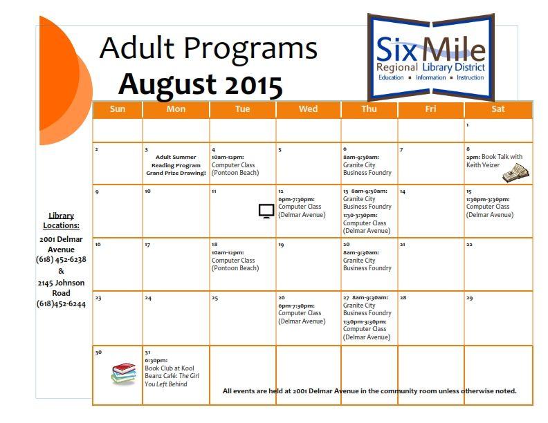 August 2015 Adult Programs Calendar Free Computer Classes Book