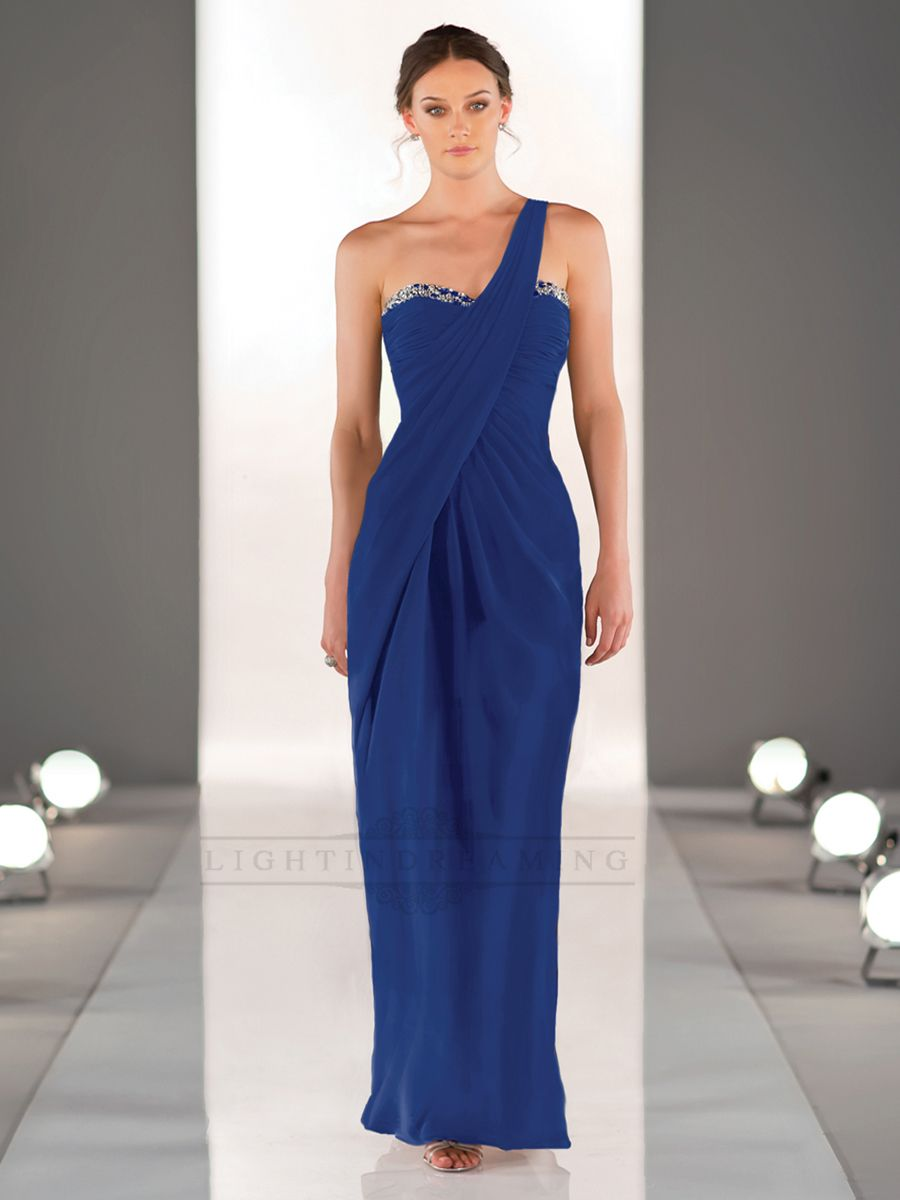 One shoulder sweetheart neckline ruched bodice full length womenus