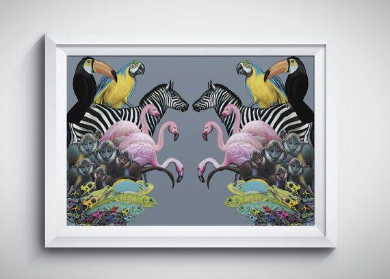 Impression d'a3 animaux art - illustrations animaux de flamant rose art - impression d'art zèbre - - Jungle art - artiste animaux - singe artistique - FREE SHIPPING UK