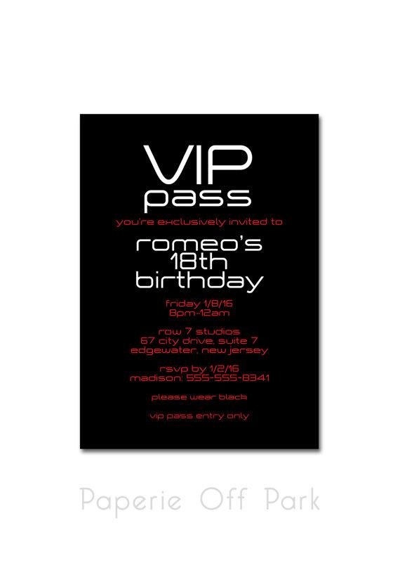 Birthday party invitation vip pass black white by paperieoffpark birthday party invitation vip pass black white by paperieoffpark stopboris Images