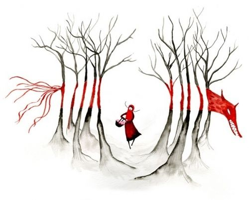 drawing, girl, little red riding hood, raquelissima, red, trees