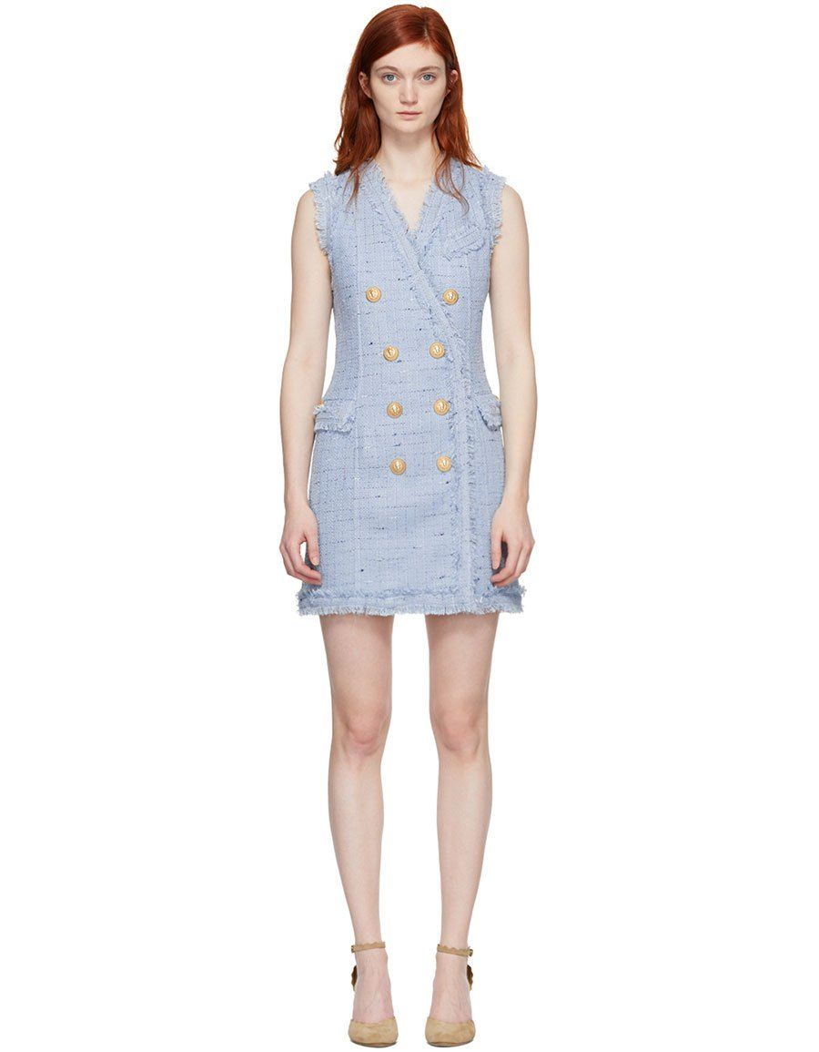 e5158730 b>BALMAIN</b><br> Blue Tweed Double-Breasted Dress | Women Clothing ...