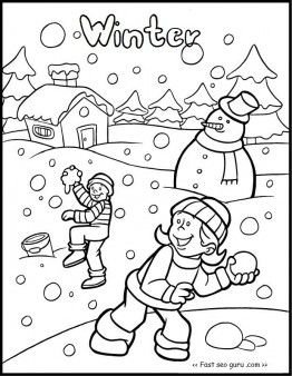Free Printable Kid Snowball Fight Game Coloring Pages For Kids Free Print Out Winter Coloring Pages Winter Christmas Coloring Pages Coloring Pages For Kids