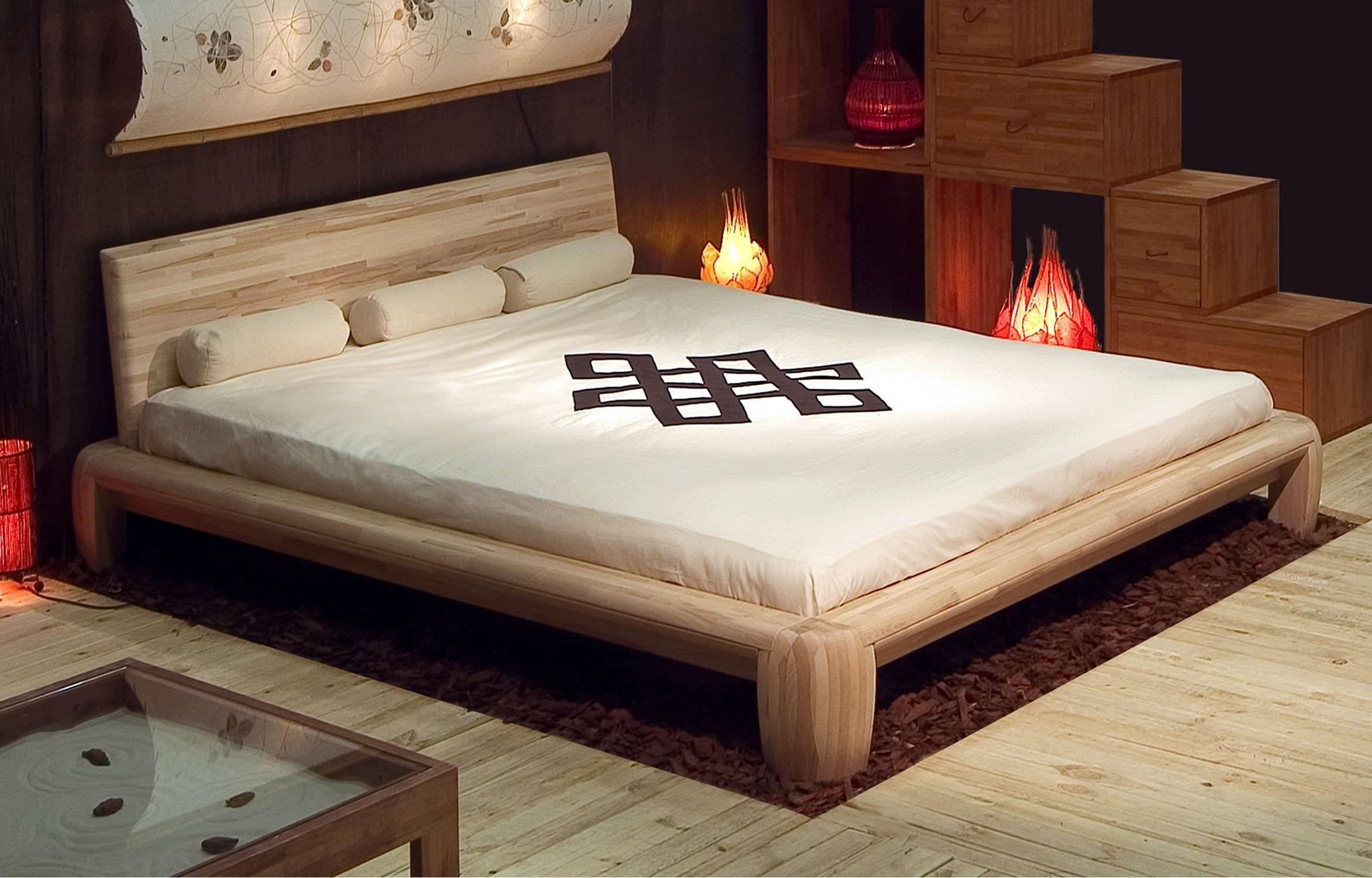 Letto matrimoniale / moderno / in legno massiccio / in legno ...