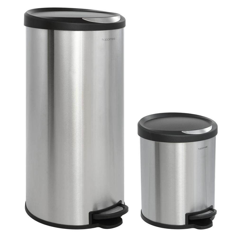Happimess oscar round gal stepopen stainless steel trash can