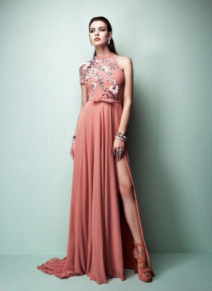 فساتين خطوبة من موضة الوان ربيع 2017 باللون البرتقالي من مجموعة جورج حبيقة Red Evening Gowns Fashion Beautiful Gowns