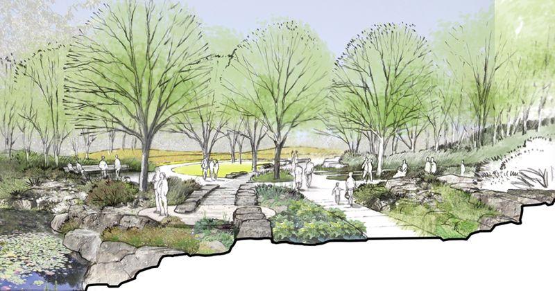 Garden Connection Cross Section Jpg 800 420 Landscape Architecture Landscape Presentation Design
