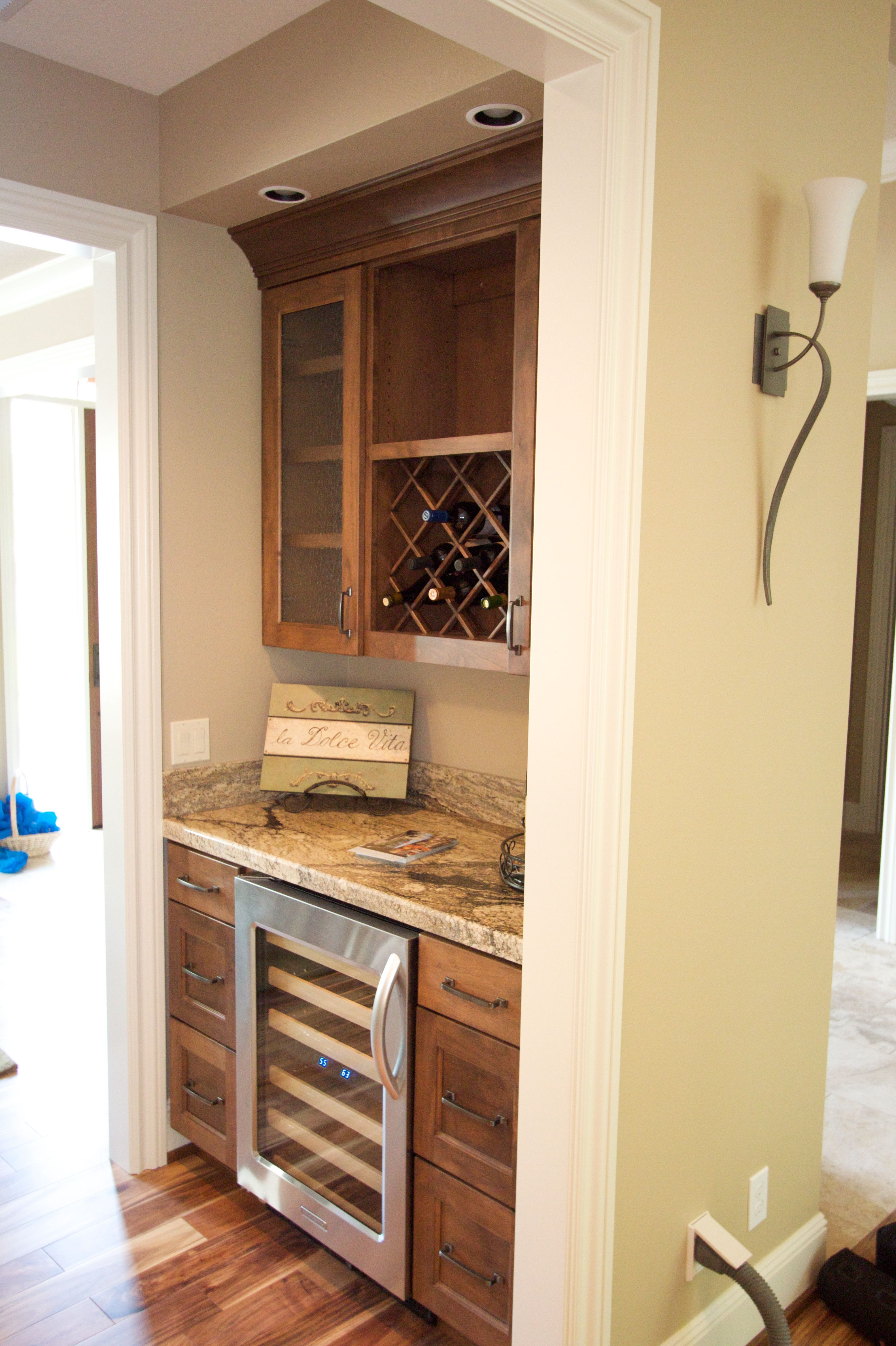 Butler s Pantry love the wine fridge and wine rack w white