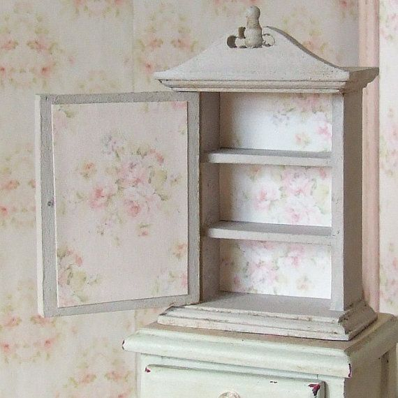Dollhouse Miniature Small Grey Cabinet Decoupage Furniture Wall Cupboard Flower Print Shabby Decoupage Furniture Dollhouse Miniatures Shabby Chic Cottage