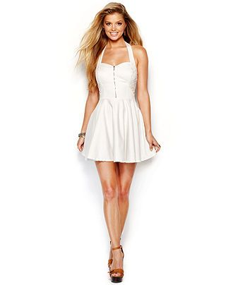 GUESS Crochet-Trim Halter Dress - Dresses - Women - Macy's - $48