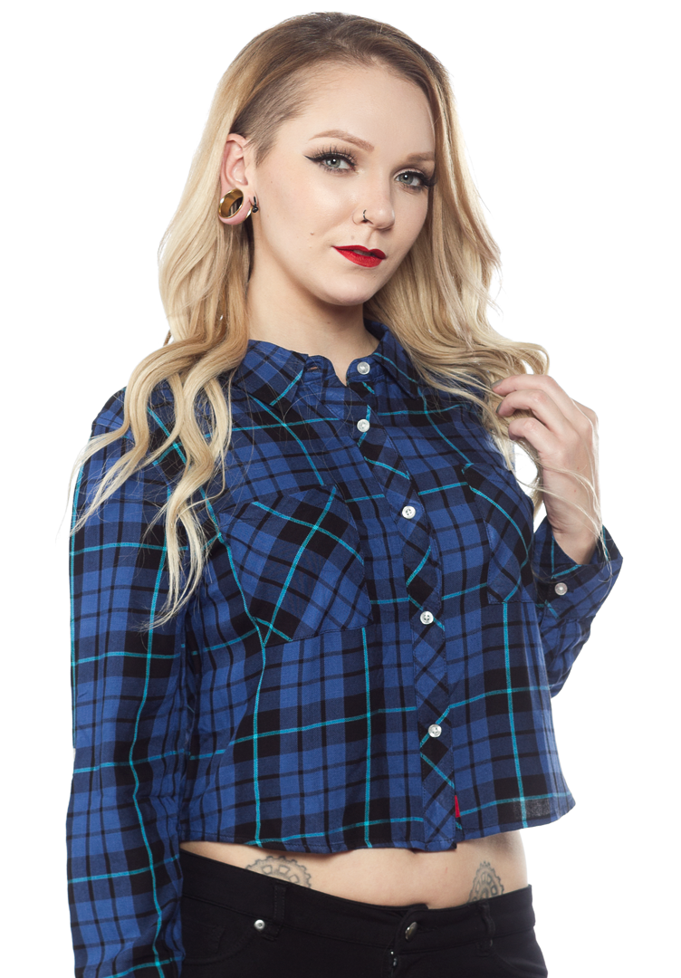 8a64a4ea DICKIES GIRL LONG SLEEVE CROPPED FLANNEL BUTTON UP BLK/BLUE $36.00 #dickies  #dickiesgirl #flannel #croptop