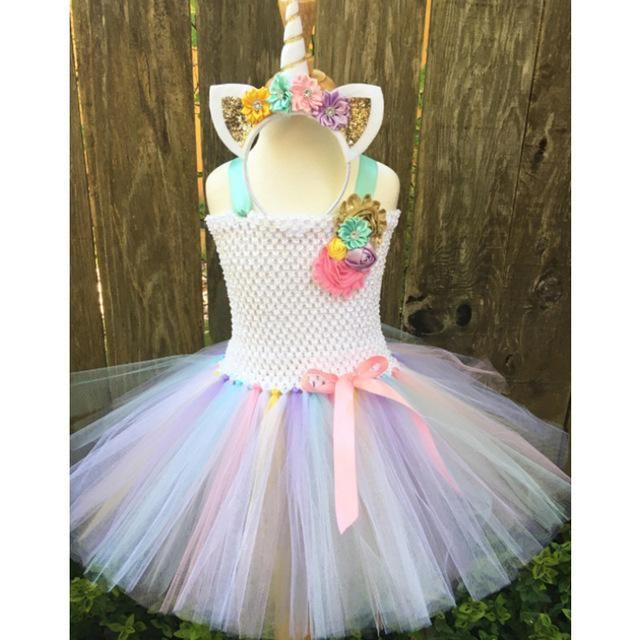 1-12 Years Old Girl Tutu Dress Little Pony Unicorn Dress Headband Christmas  Halloween Party Dresses 4244d57ad9d6