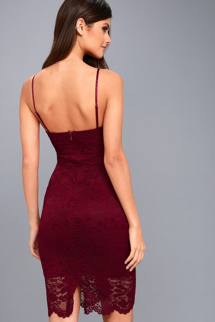 Versailles Burgundy Lace Bodycon Midi Dress In 2019 Lace