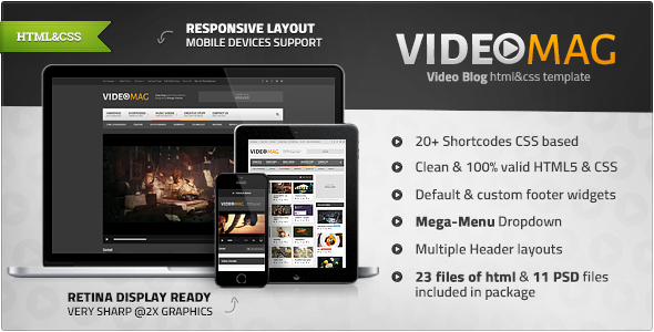 Videomag Powerful Video Html Template Banners Contact Form Orange Themes Responsive Themefores Blog Themes Wordpress Wordpress Theme Wordpress