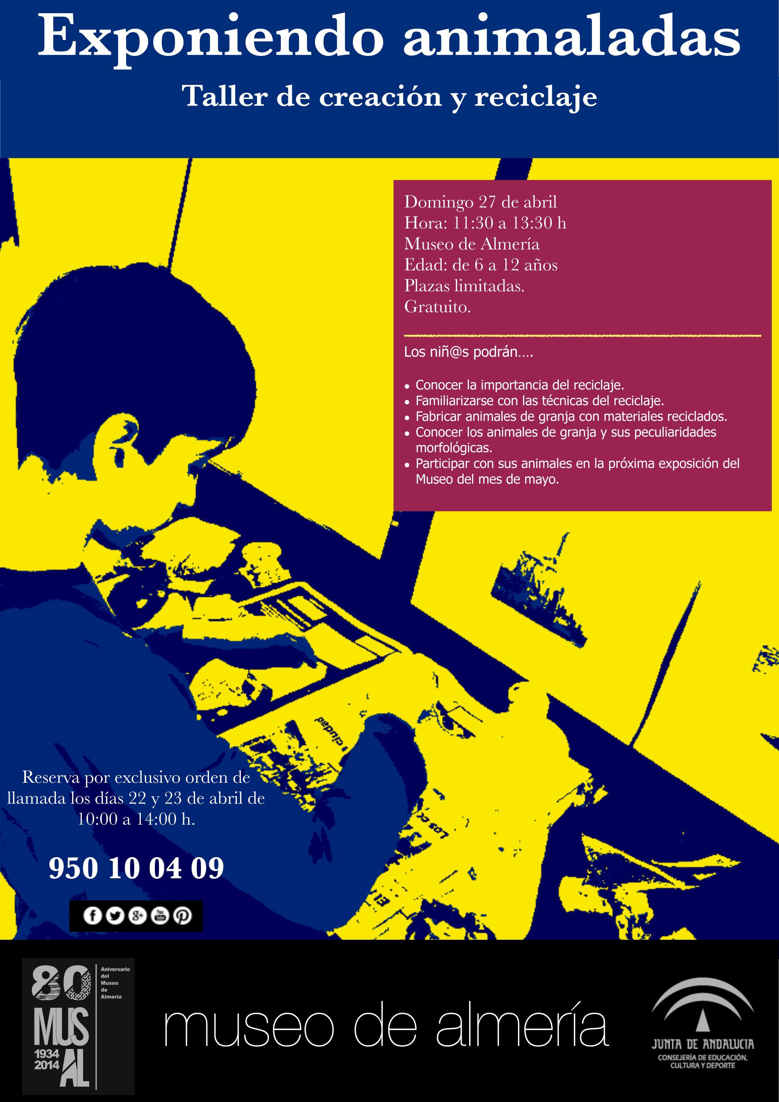Taller de creación y reciclaje: Exponiendo Animaladas (Destinado a niñ@S entre 6 y 12 años. Inscripción gratuita. Domingo 21 de abril de11:30 a 13:30 h.)