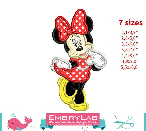 Applique Minnie Mouse. Machine Embroidery Applique Design. Instant ...