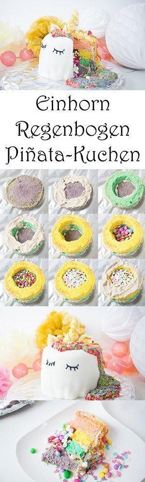 Photo of Einhorn-Regenbogen-Piñata-Kuchen selber machen – Ostern – Einhorn-Regenboge…