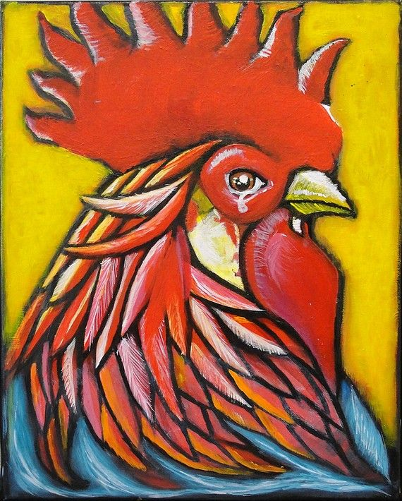 El Gallo Original Acrylic Painting By Karina Prado On