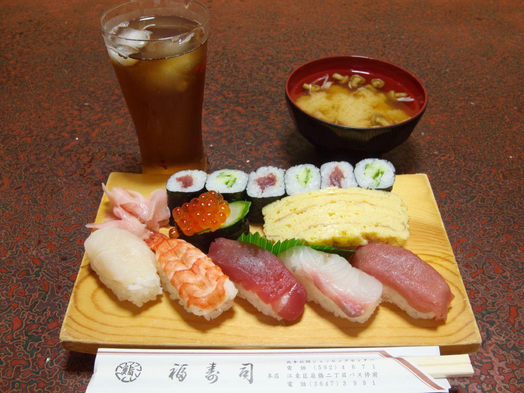 福寿司: にぎり又はちらし寿司(みそ汁付)+ソフトドリンク