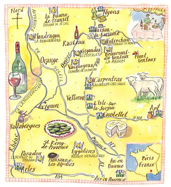 Illustrated Map of Provence Weve stayed in Avignon Manosque and St