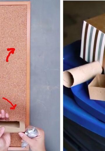 Elle choisi quelques trucs dans le bacs de recyclage! Son idée lui permet d'organiser toute la semaine, sur un seul tableau!