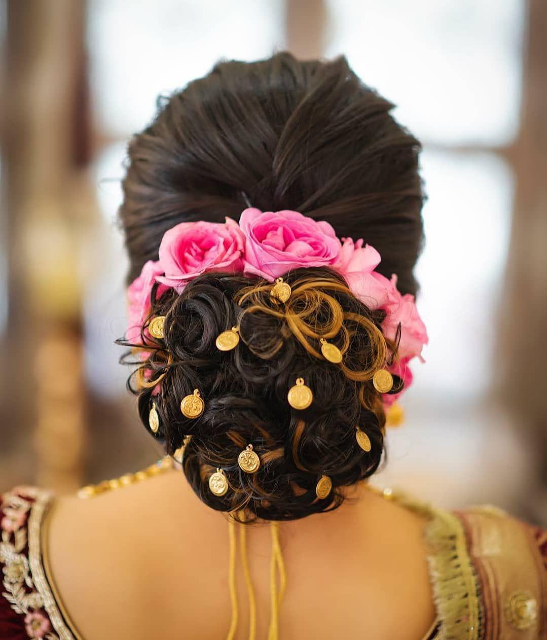 Bridal Bun With Pink Florals Best Bridal Makeup Bridal Hairstyle Indian Wedding Bridal Bun